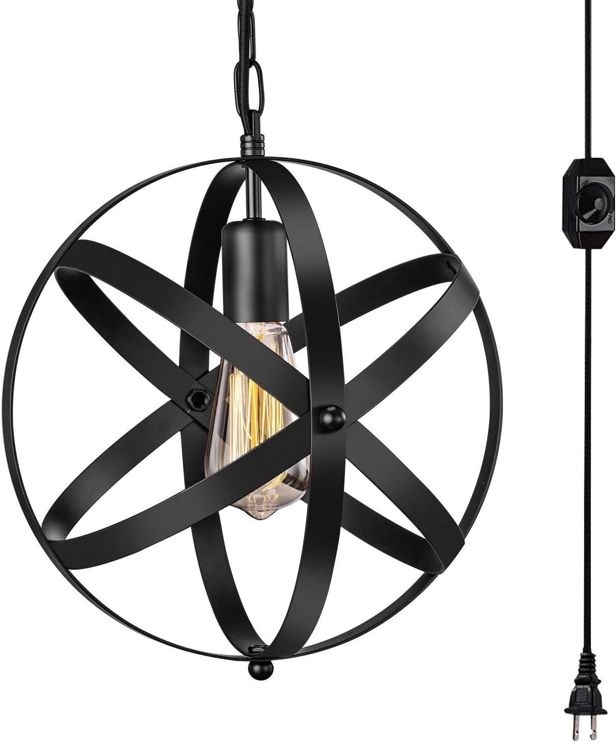 Ganeed Plug in Pendant Light,Industrial Hanging Light Metal Globe Vintage Pendant Light Fixture with Hanging Cord and On Off Switch for Kitchen Island Bedroom Farmhouse