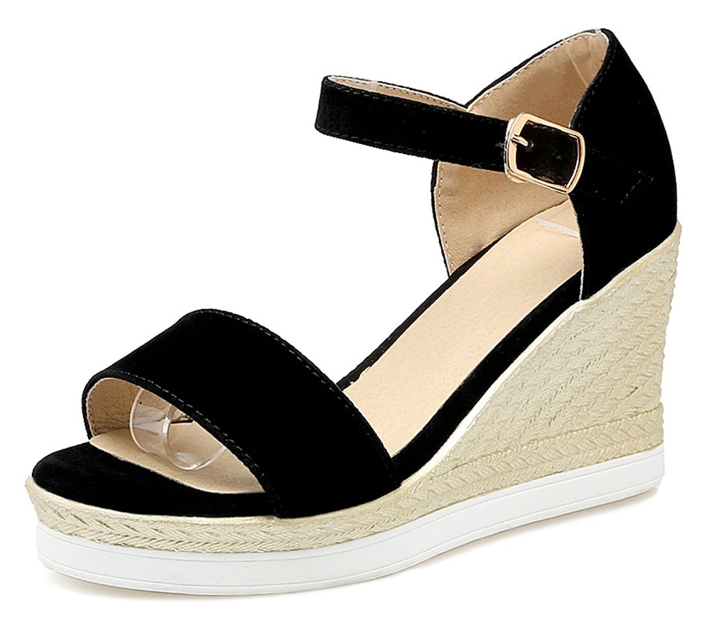 Aisun Women's Open Toe Wedge Sandals with Ankle Strap - Buckled Platform Casual - Color-Contrasted High Heel B07CRCMJJ6 4 B(M) US|Black
