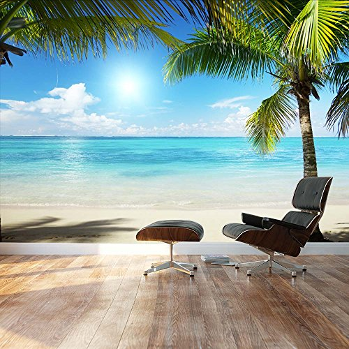 Wall26 – Tropical blue waters framed by Palms – Landscape – Wall Mural, Removable Sticker, Home Decor – 100×144 inches