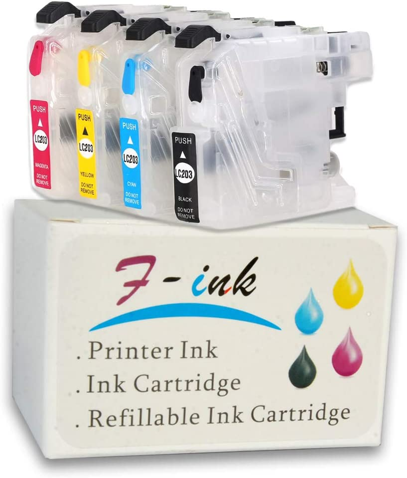 F-INK Empty Refillable Ink Cartridge Replacement For Brother LC201 LC203 LC203XL,Works With Brother MFC-J4320DW J4420DW J4620DW J5520DW J5620DW J5720DW Printers