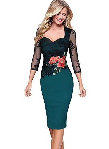 Vfemage Women Embroidered Floral See Through Lace Cocktail Party Dress