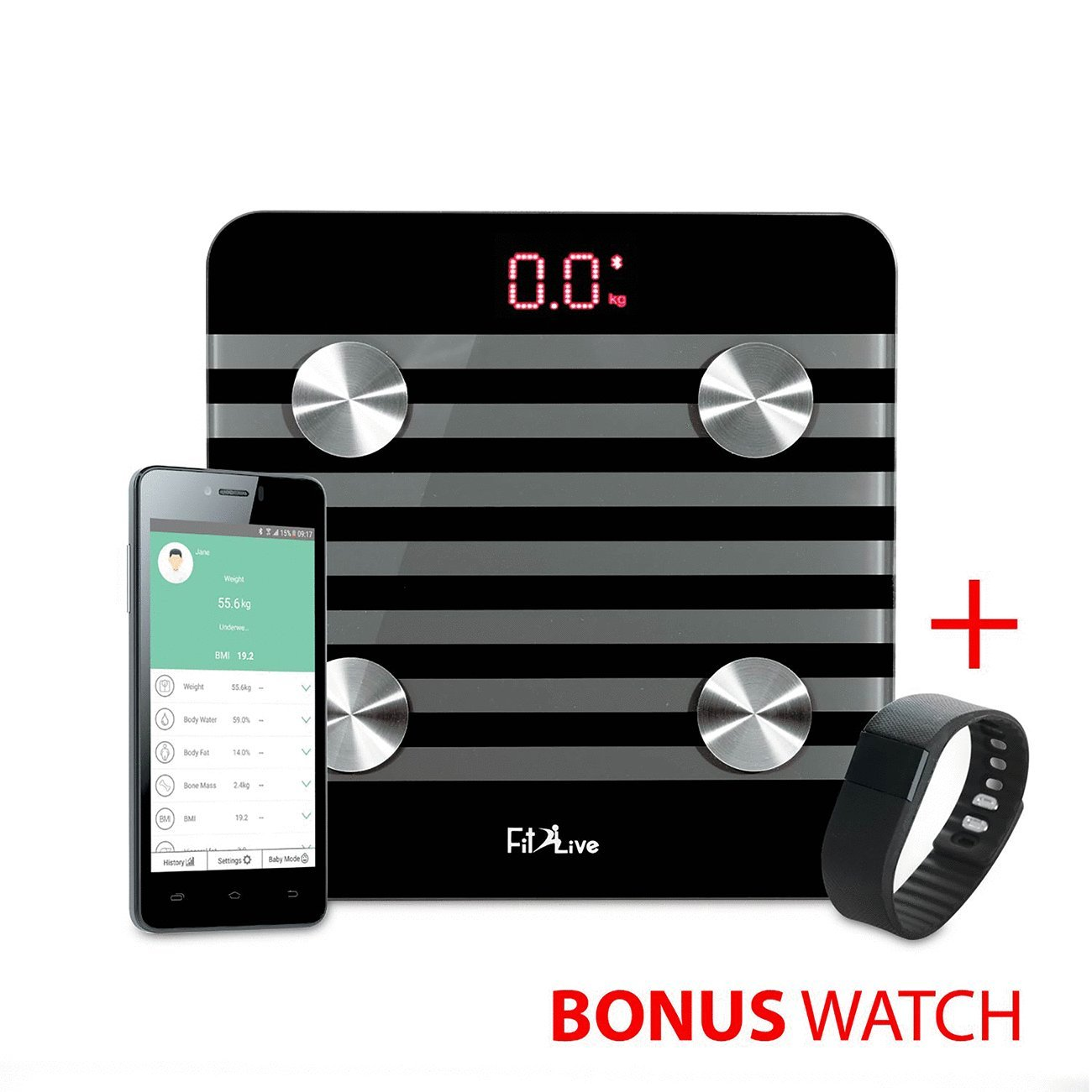 Bluetooth Body Fat Scale - Fit2Live Smart Wireless Digital Bathroom Weight Scale Body Composition Analyzer Health Monitor with IOS and Android APP for Body Weight, Fat, Water, BMI, BMR, Muscle Mass