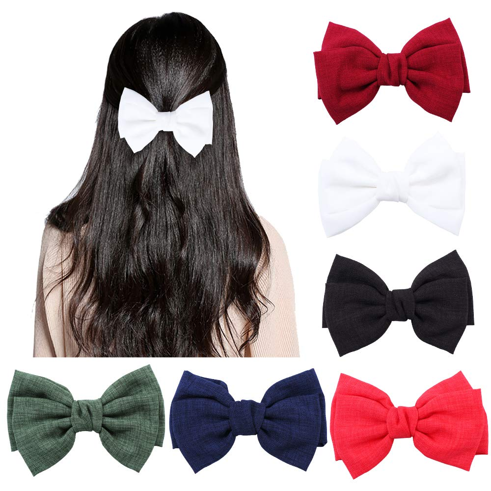 11 Pcs Hair 11 inch Bow Clips Multi-colored Big Satin Solid Grosgrain Ribbon  Boutique Hair Bow Hair Bows Hair Accessories for Women