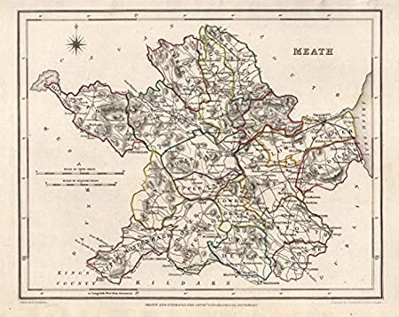 Map Of Co Meath Ireland.County Meath Antique Map For Lewis By Creighton Dower Ireland