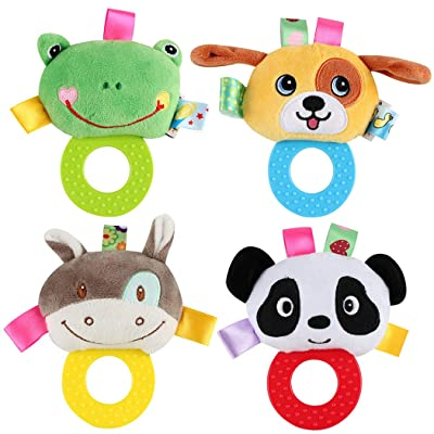 FunPa 4PCS Musical Rattle Educational Animal Ring Design Infant Teether Baby Teething Toy: Health & Personal Care