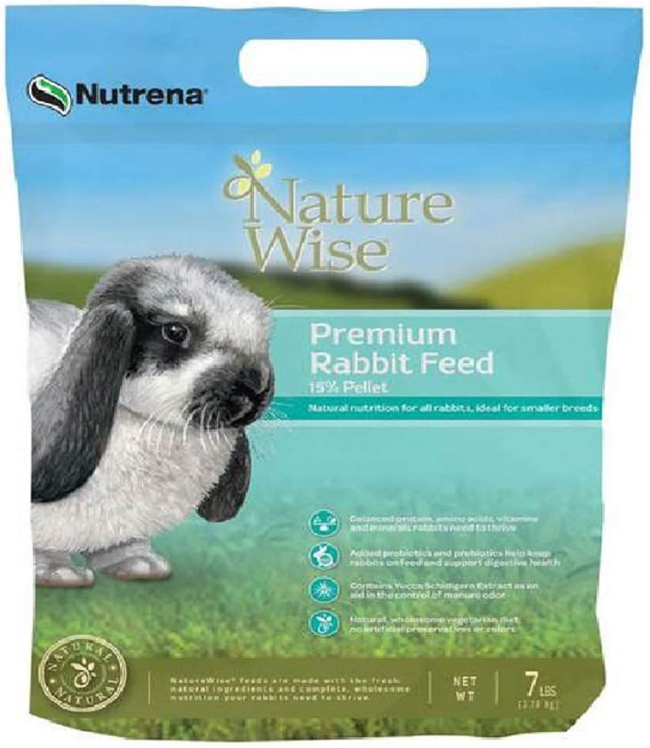 Nutrena NatureWise 7 Lb. Premium and Natural 15% Pellet Feed for Strong and Healthy Rabbits, with Prebiotics and Probiotics