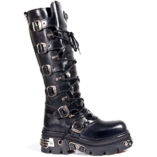 Newrock Ladies 272 Metallic Black Goth Knee High Zip Leather Boots Punk Emo
