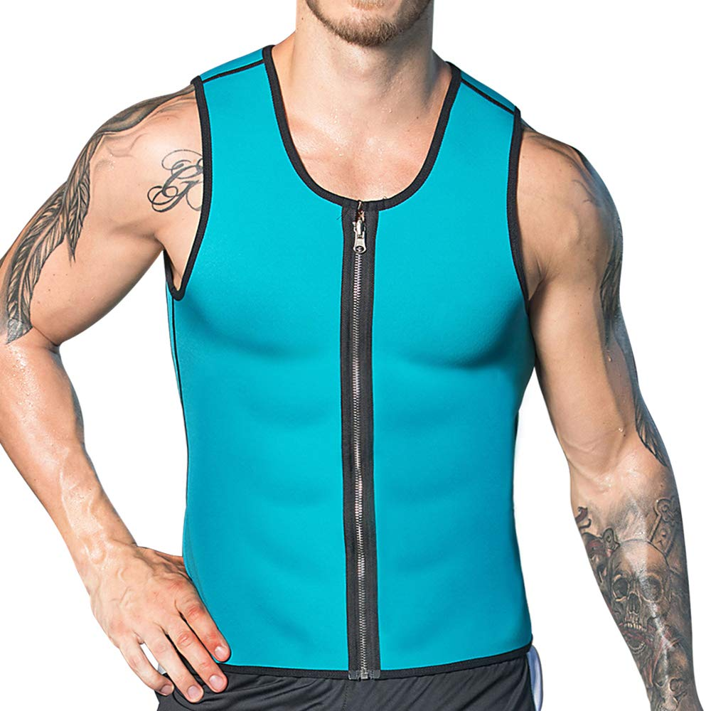 DoLoveY Men Neoprene Sauna Vest with Zipper Waist Trainer Vest Hot Sweat Weight Loss Shaper