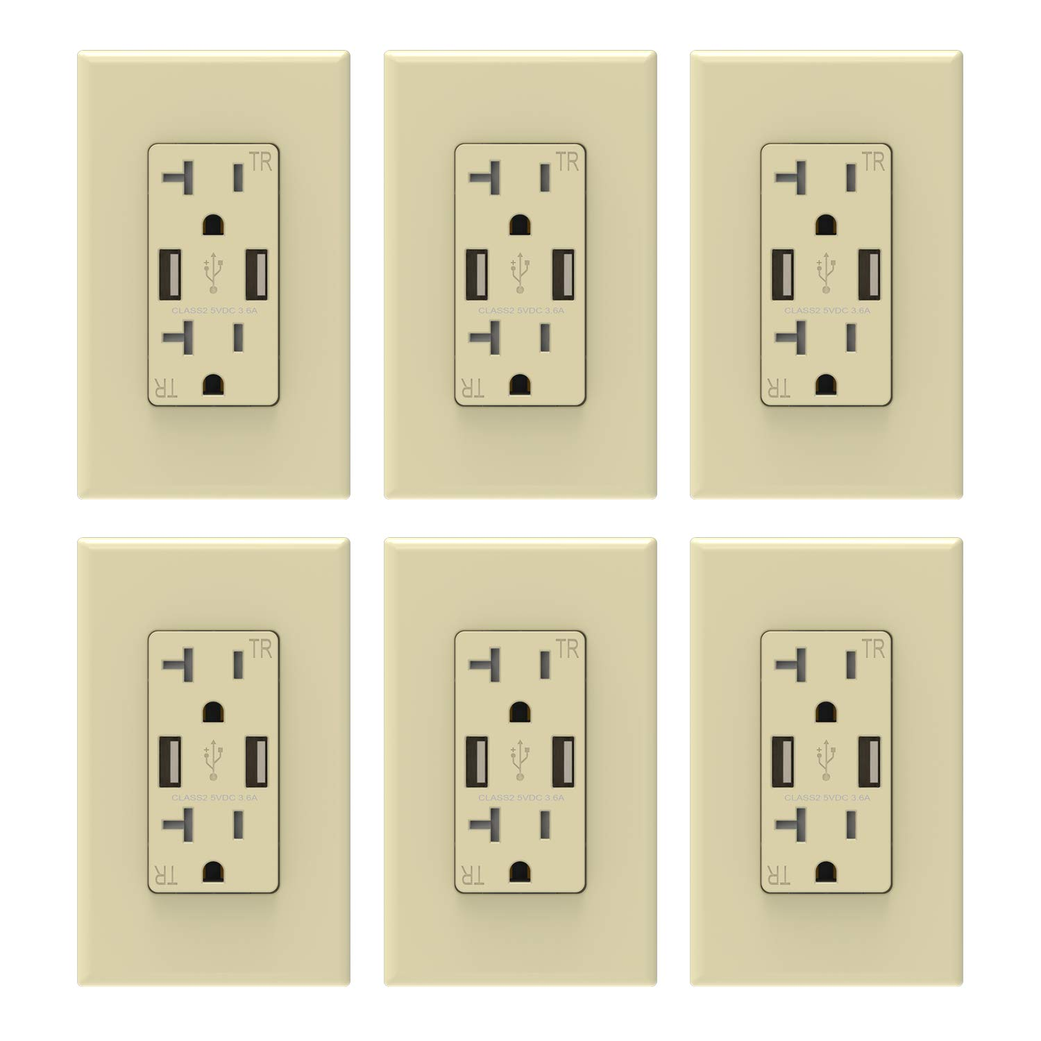 ELEGRP USB Charger Wall Outlet, Dual High Speed 3.6 Amp USB Ports, 20 Amp Duplex Tamper Resistant Receptacle, Wall Plate Included, UL Listed (6)