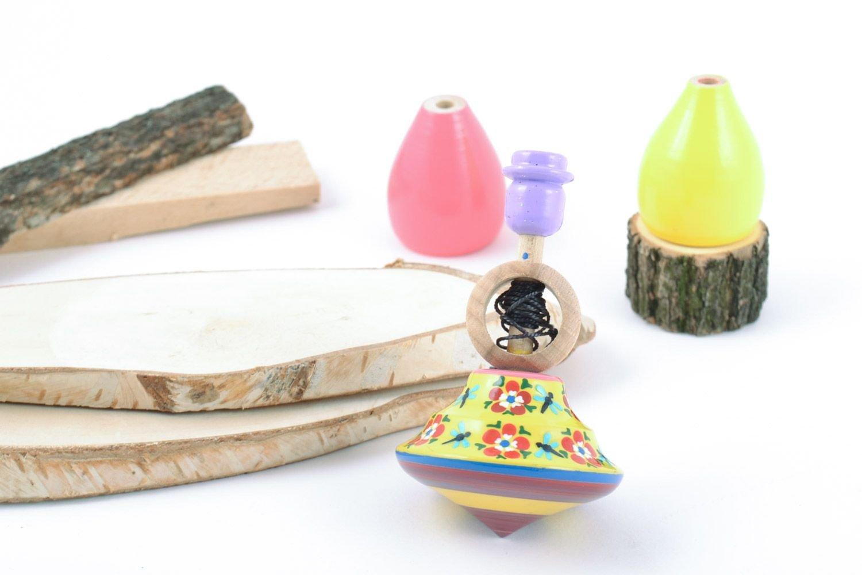 ハンドメイド美しい木製Painted Spinning Top Toy for Children Nursery内部 B010E9BC44