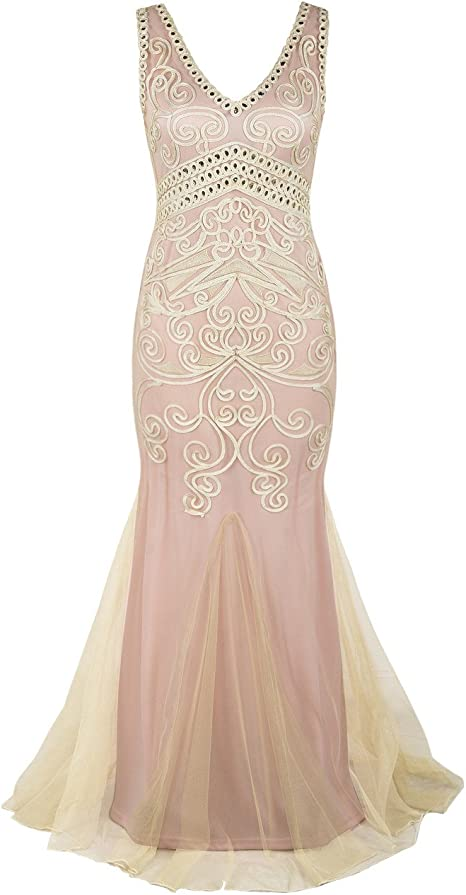 Prettyguide Damen 1920er Gatsby Ballkleid Meerjungfrau Lange Formelle Abendkleid Amazon De Bekleidung