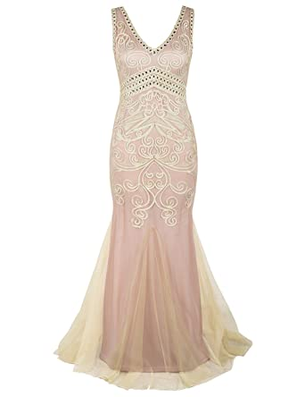 PrettyGuide Women 1920s Ball Gown Long Cocktail Formal Evening Dress S Beige Pink