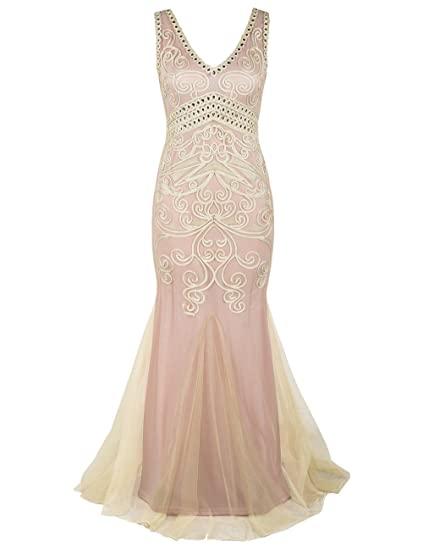 kayamiya Womens 1920s Maxi Long Mermaid Formal Evening Bridesmaid Dress M Beige&Pink