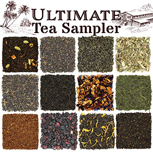 Solstice Loose Leaf Tea Ultimate Sampler Feat. 12 Teas; Sencha & Gunpowder Green Tea, Masala Chai Black Tea, Rooibos Herbal Tea, And More! Approx 180+ Servings