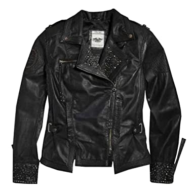 Harley-Davidson Women's Winsome Studded Leather Biker Jacket 97101 ...