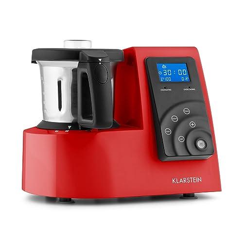 Klarstein Kitchen Hero • Robot de cuisine universel • Cuit vapeur • Moteur 600 W • élément chauffant 1300 W • 9 en 1 • Turbo • Mixer 2 L • 4 programmes automatiques • Livre de recettes inclus • rouge