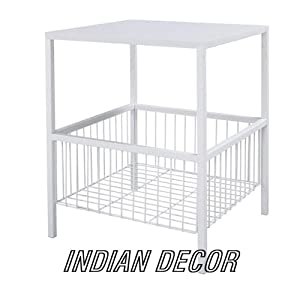 INDIAN DECOR 4545 Bedside Table with Storage/Bedroom Table/Table with Storage - White