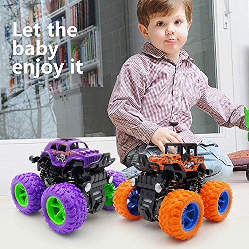 WOCY Monster Trucks Cars Toys for Boys, Monster Jam Friction Powered Pull Back Vehicles Cars Truck for Toddlers Aged 3 4 5 Year Old Gifts for Kids Birthday (Purple and Orange)