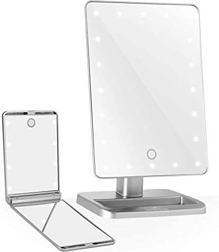 Impressions Vanity Silver Touch XL Touchup Makeup Vanity Mirrors with LED Lights – Compact Lighted Mirror and Tabletop Makeup Mirror