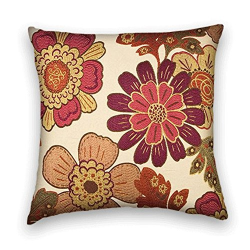Pink Gold Berry Floral Decorative Throw Pillow Cover