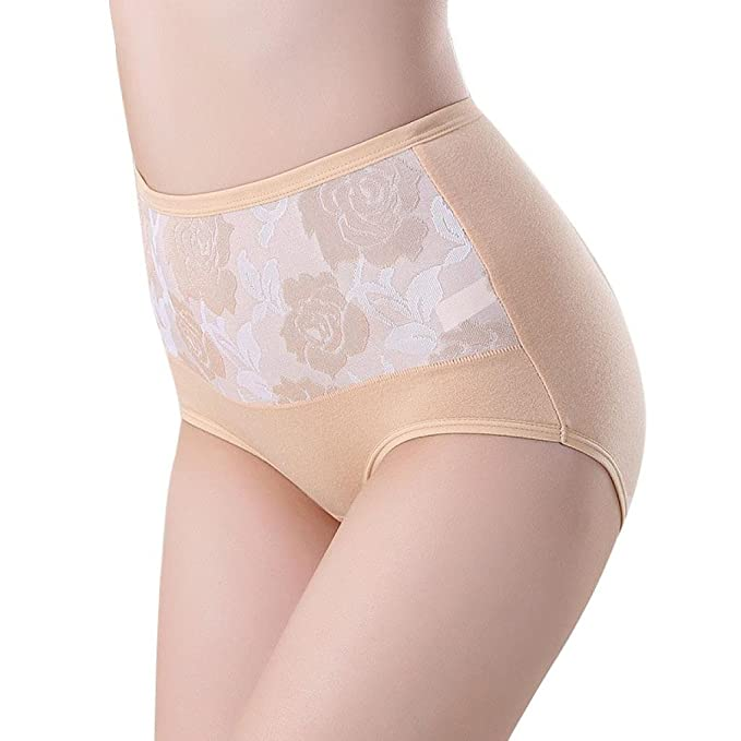 58a08d703ad9d LHWY High Waist Cotton Women Briefs Lingerie Knickers Panties Sexy Healthy  Panties Underwear Plus Size Elastic Invisible  Amazon.co.uk  Clothing