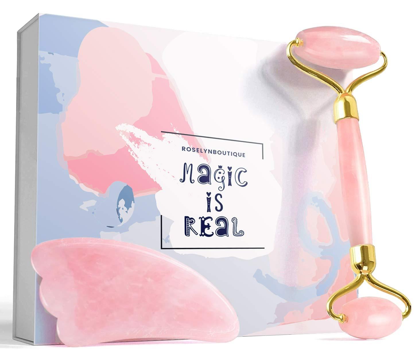 Jade Roller Gua Sha Set for Beautiful Skin Detox - Beauty Skin Massager Tool - Original Natural Jade Stone (Quartz)