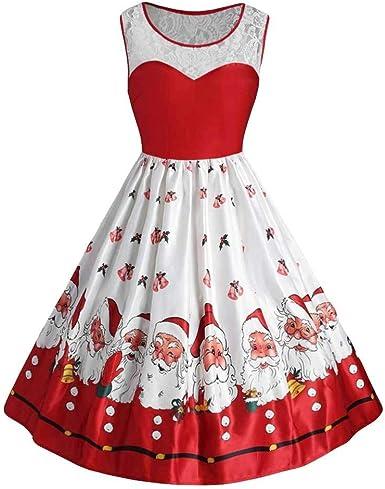 Vestido Para Mujer Navidad Largos Elegantes Invierno Tallas Grandes Paolian Vestido De Fiesta Noche Mujer Encaje Sin Manga Traje De Navidad Disfraz Mujer Estampados Papa Noel Amazon Es Ropa Y Accesorios