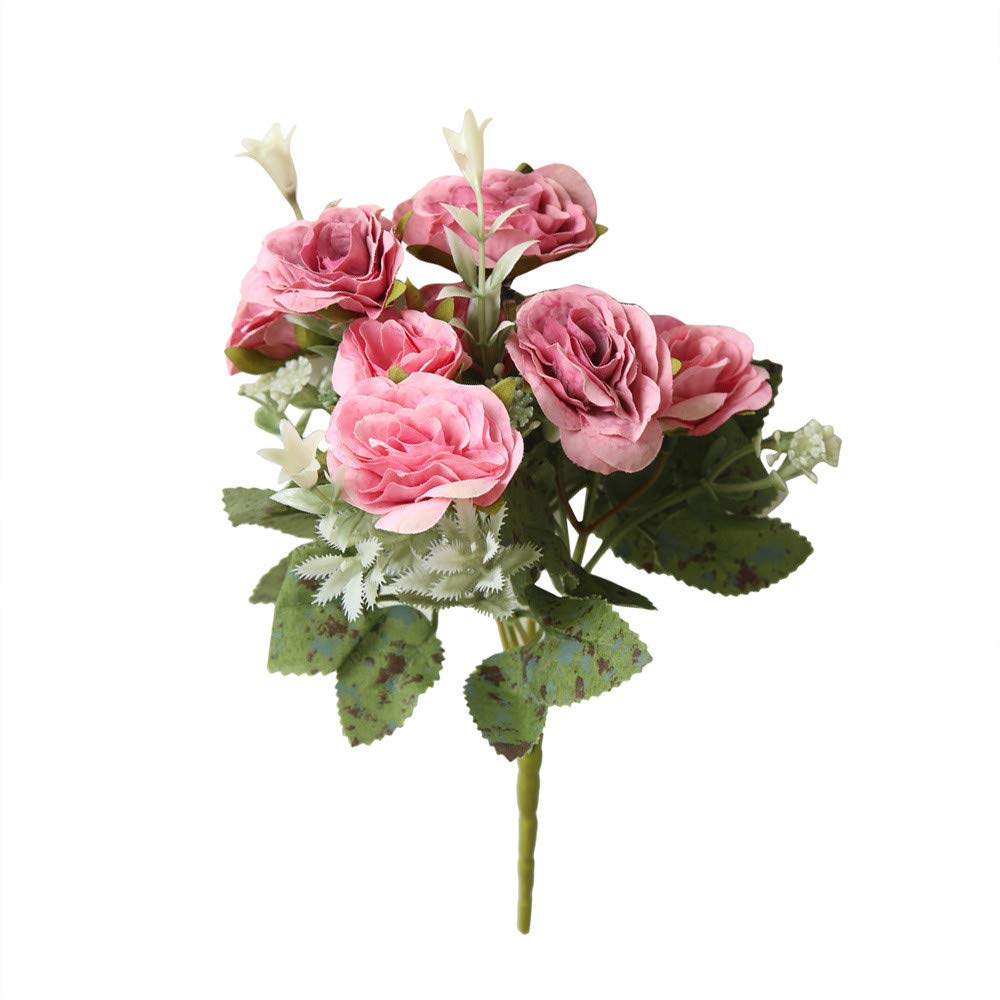 Effulow Wild Rose Bouquet Artificial Flower 8 Heads Artificial Fake Peony Silk Flower Bridal Hydrangea Home Wedding Decor