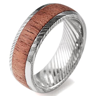 Shardon Men S 8mm Domed Damascus Steel Wedding Ring With Real