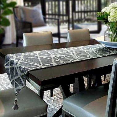 Artbisons Table Runner Grey Geometry 72x13 Thickly Modern Handmade Tablerunner