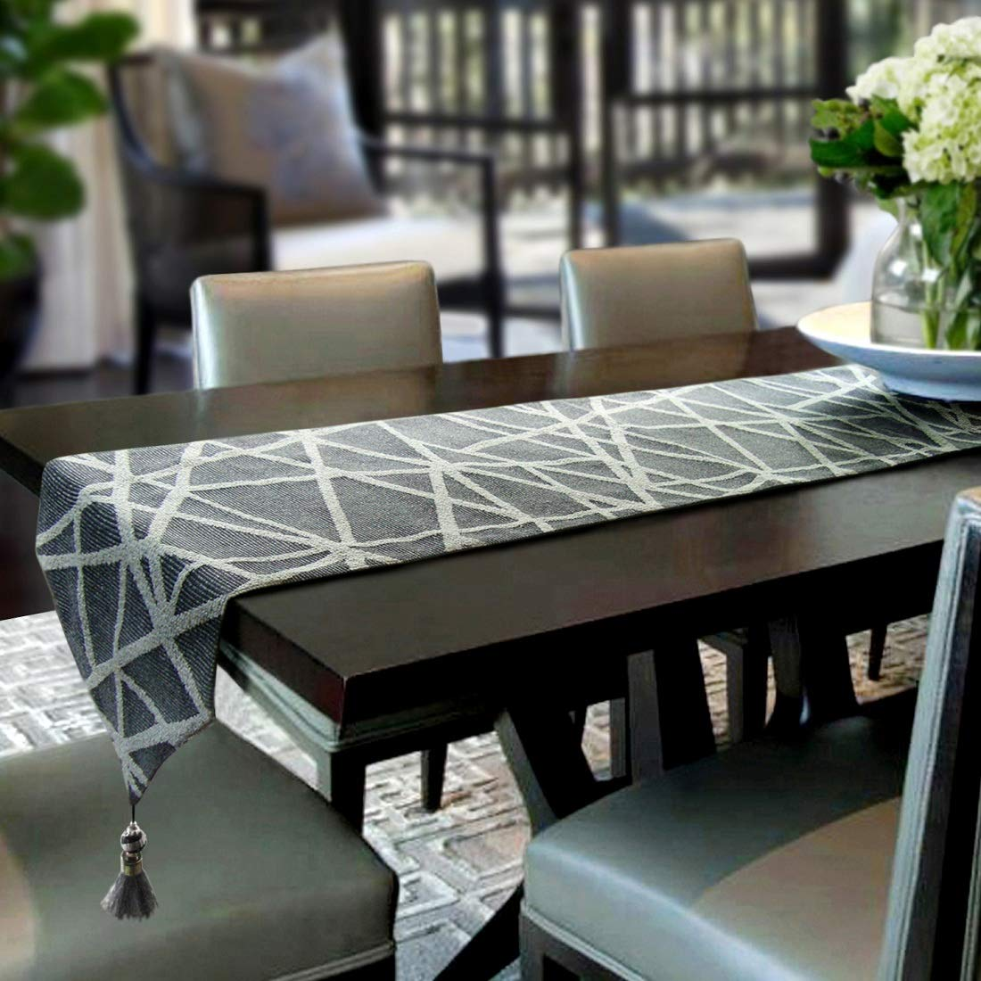 Artbisons Table Runner Grey Geometry 95x13 Thickly Modern