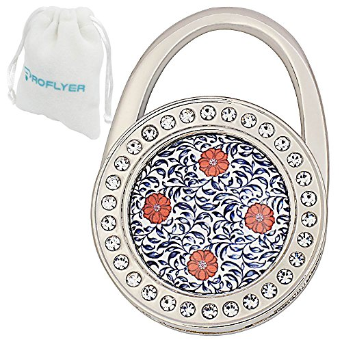 Royceflyer Moon and Sun,Dragonfly,Peacock,Butterfly,Flower Pattern Purse Hanger Handbag Table Hook (Lock Shape 04)
