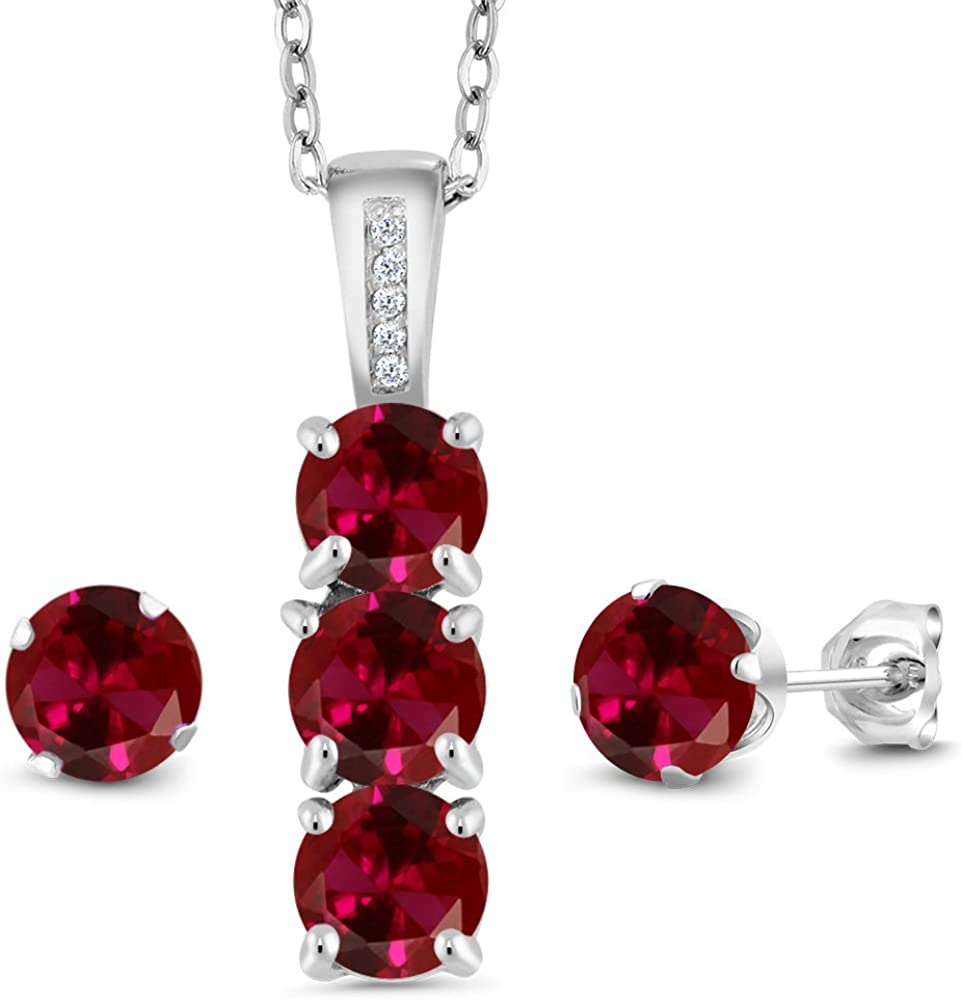 925 Silver Filled Ruby Sapphire Gem Pendant Necklace+Earrings Jewelry Set Gift