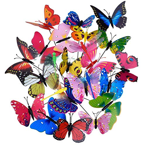 (Xigeapg 20 Pieces Garden Butterflies Stakes and 4 Pieces Dragonflies Stakes Garden Ornaments for Yard Patio Party Decorations, Totally 24 Pieces)