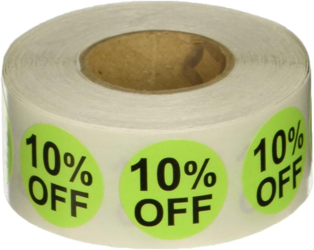Verdes Calientes 10% de Descuento en la Venta de Pegatinas, 19 mm 3/4 Pulgadas Etiquetas de Venta al por Menor 500 Paquete