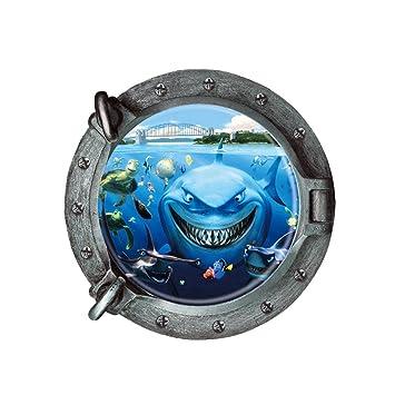 Colorfulworld/® 3D Art Hai Meer Hai Fisch Delphin Wandtattoo Removable Wall sticker Kinderzimmer Geschenk Waterproof Wallpaper Dolphin1