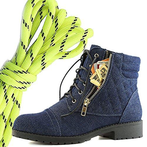 Dailyshoes Donna Militare Allacciatura Fibbia Stivali Da Combattimento Alla Caviglia Alta Tasca Esclusiva Per Carte Di Credito, Neon Blu Nero Denim Blu