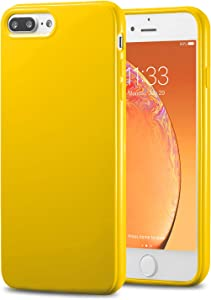 TENOC Phone Case Compatible for Apple iPhone 8 Plus & iPhone 7 Plus 5.5 Inch, Slim Fit Cases Soft TPU Bumper Protective Cover, Glossy Yellow