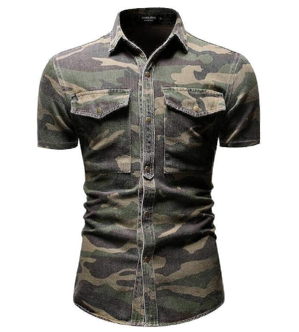 pipigo Mens Short Sleeve Camo Button Up Pockets Western Denim Shirt