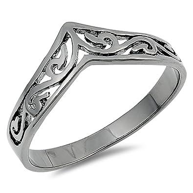 4c805dd11 Filigree Celtic Black-Tone Thumb Ring New .925 Sterling Silver Band Size 3