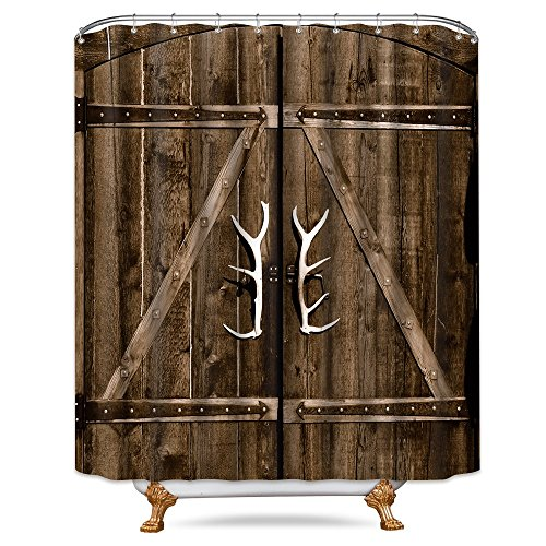 Riyidecor Wooden Garage Barn Door Shower Curtain 72x84 Inch with Metal Hooks 12 Pack Vintage Rustic Country Gate Extra Long Decor Fabric Bathroom Set Polyester Waterproof