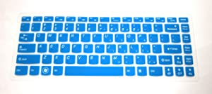 "US Layout Keyboard Protector Skin Cover for Lenovo ideapad Y700 14'', 300s 14'', 100s 14'', Z41(if Your Enter Key Looks Like 7"", Our Skin Can't fit) (semi-Blue)"