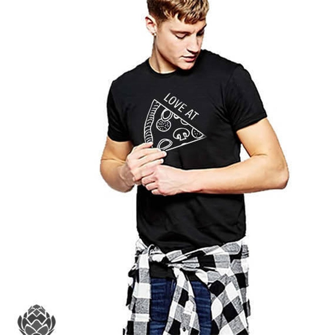 Dolland カップルTシャツ トップス カジュアルプリント 半袖Tシャツ ブラウス ピザ柄 L 68 L Black - Male B07C185PZM