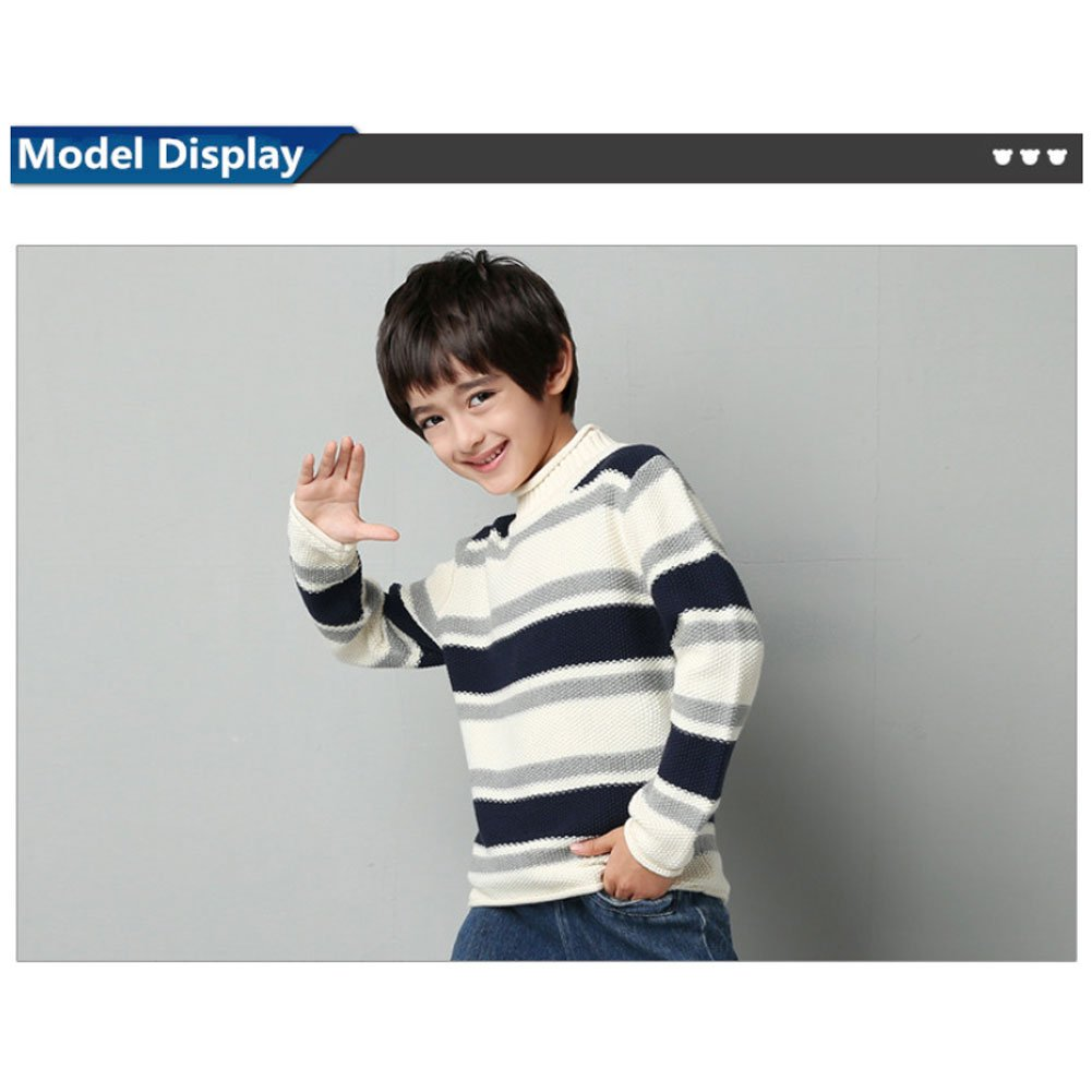 MiMiXiong MMX Boys Colorful Striped Winter Pullovers Sweaters Autumn Casual Children Knitwear Outerwear (3T, White) by MiMiXiong (Image #5)