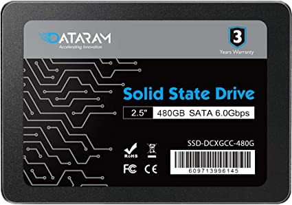 DATARAM 480GB 2.5 SSD Drive Solid State Drive Compatible with Intel NUC6I5SYH