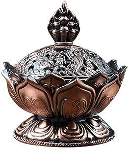 Vintage Backflow Smoke Incense Burner Censer Stick Cone Holder Home Decoration (Dark Bronze)