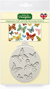 Mini Butterflies Silicone Mold for Cake Decorating, Crafts, Cupcakes, Sugarcraft, Candies, Cards and Clay, Food Safe Approved, Made in The UK