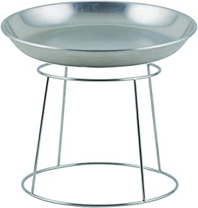 Winco ASFT-20 & SFR-7, 250-Ounce Brushed Aluminum Round Serving Seafood Platter Tray with Display Rack Holder (250 oz)