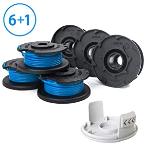 "X Home Edger Replacement Spools Compatible with Ryobi One+ 18-Volt 24V 40V Weed Eater AC14RL3A Spool Line with AC14HCA Cap Covers Parts 11ft 0.065"" Auto-Feed Cordless String Trimmers (6 Spools, 1 Cap)"