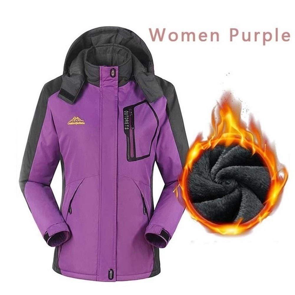 Sceliny アウトドアスポーツのためのレディーススキージャケット冬の暖かい雪スキースノーボードハイキングコート、防風防水 (色 : 紫の, サイズ : XL) 紫の X-Large